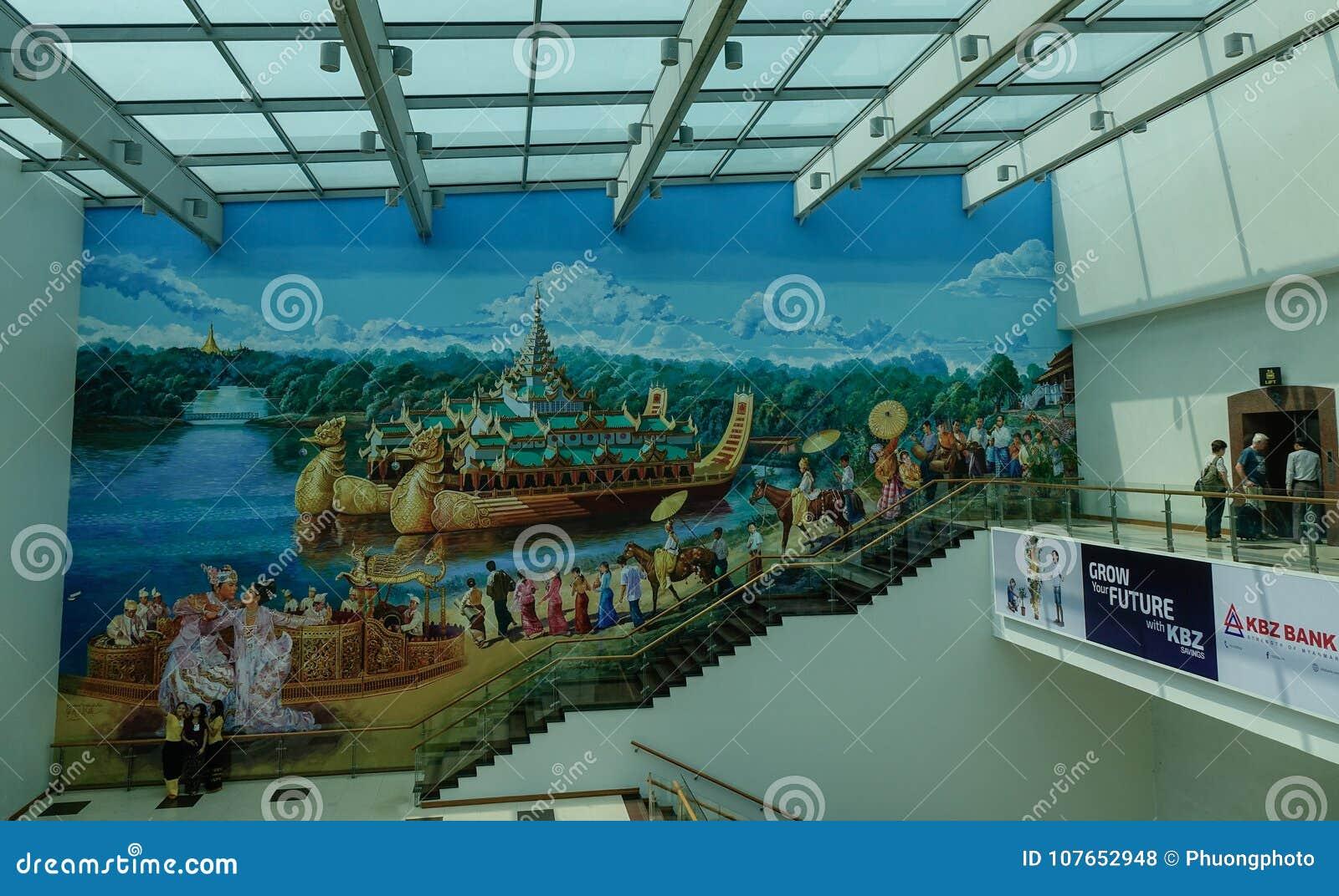 Interior Of Yangon International Airport Editorial Stock Photo Image Of Asian Passage 107652948