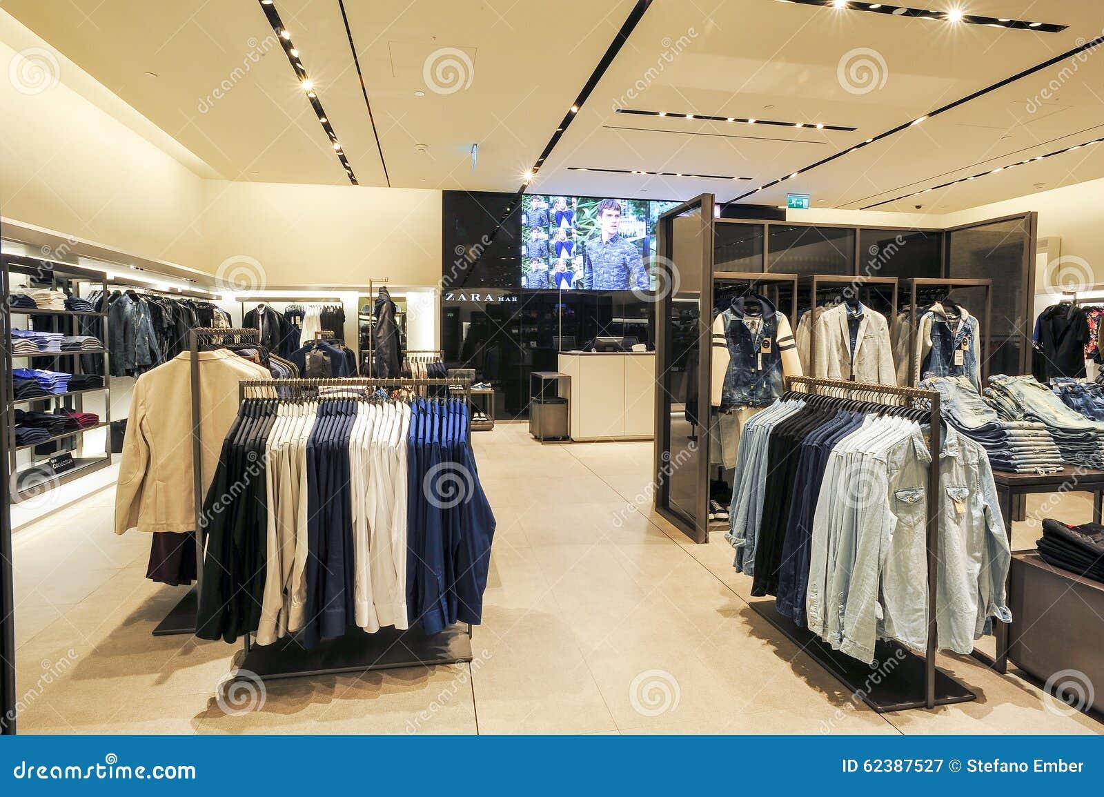 Interior of zara fashion clothes store editorial for Dubai decoration interieur