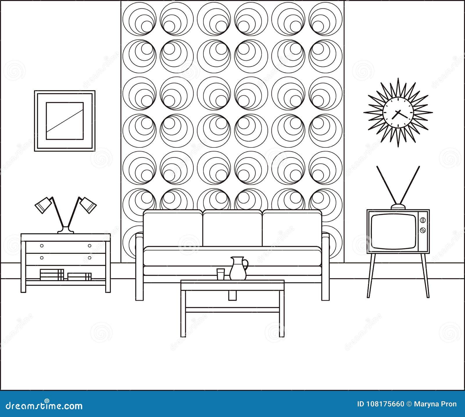 Interiore dell annata Salone lineare Illustrazione di vettore