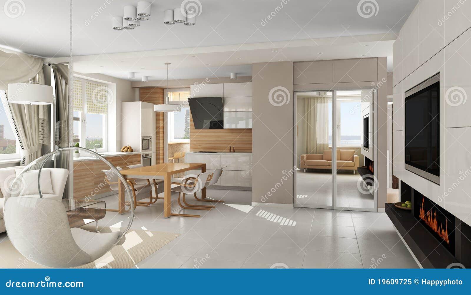 Interiore dell 39 appartamento di lusso moderno illustrazione for Piani di appartamenti moderni