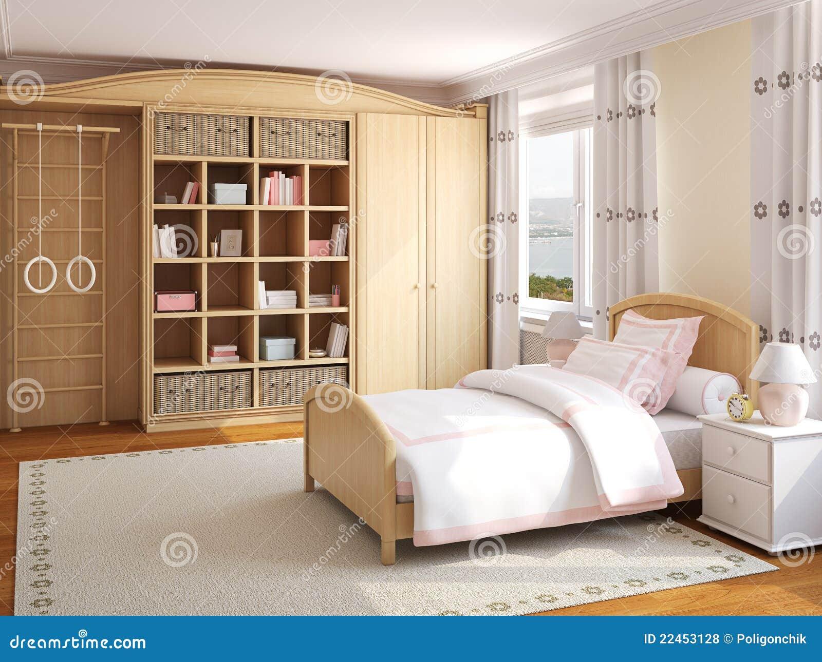 Interiore della camera da letto della ragazza for Piani della camera da letto divisi