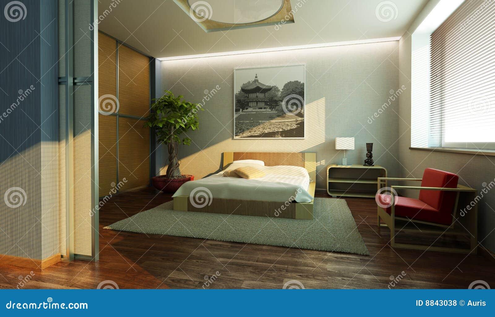 Stanze Da Letto Stile Giapponese : Interiore della camera da letto di stile del giappone