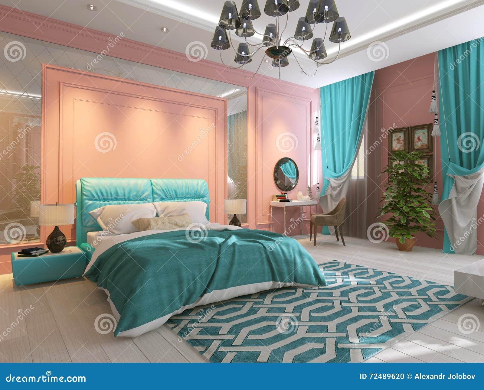 Pareti Rosa Camera Da Letto : Interiore della camera da letto nel colore rosa fotografia stock
