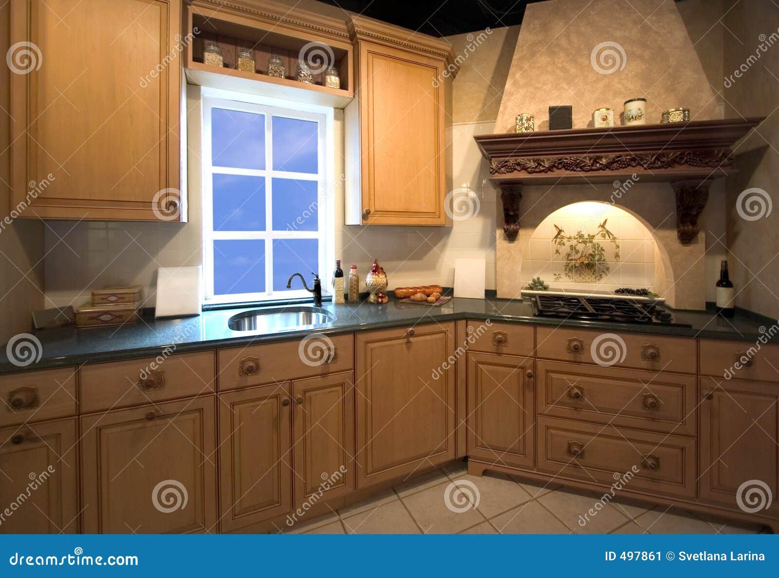 Interiore Della Cucina Con La Finestra Immagine Stock - Immagine di ...