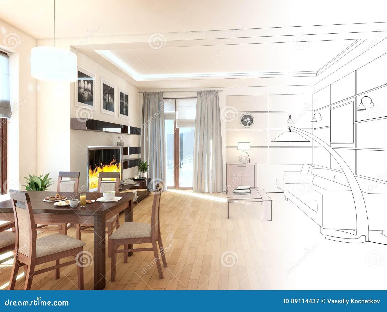 Interiore di disegno moderno del salone 3d rendono for Programmi 3d architettura
