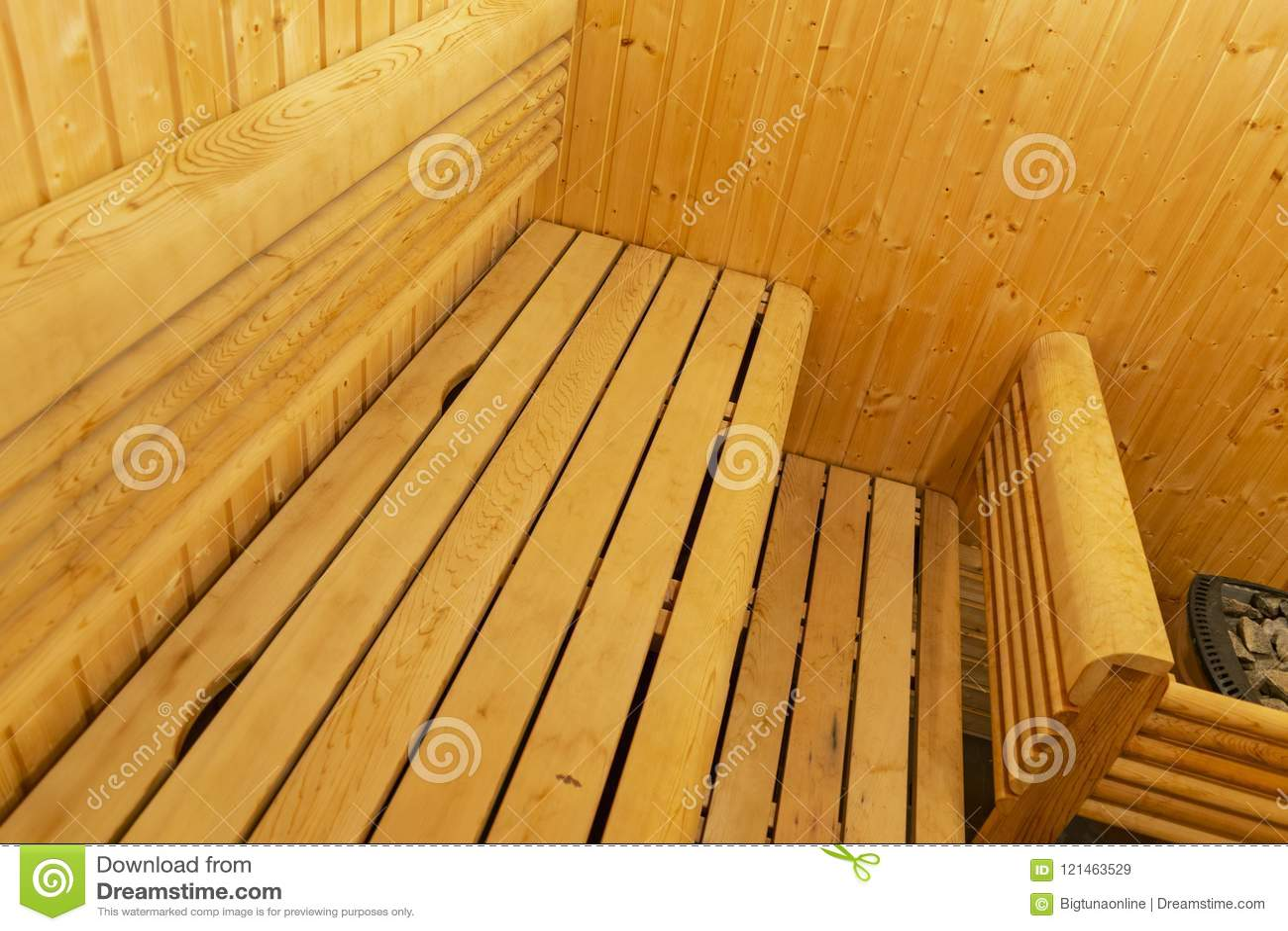 Interiore di sauna finlandese Sauna di legno classica Bagno finlandese  Cabina di legno di sauna Stanza