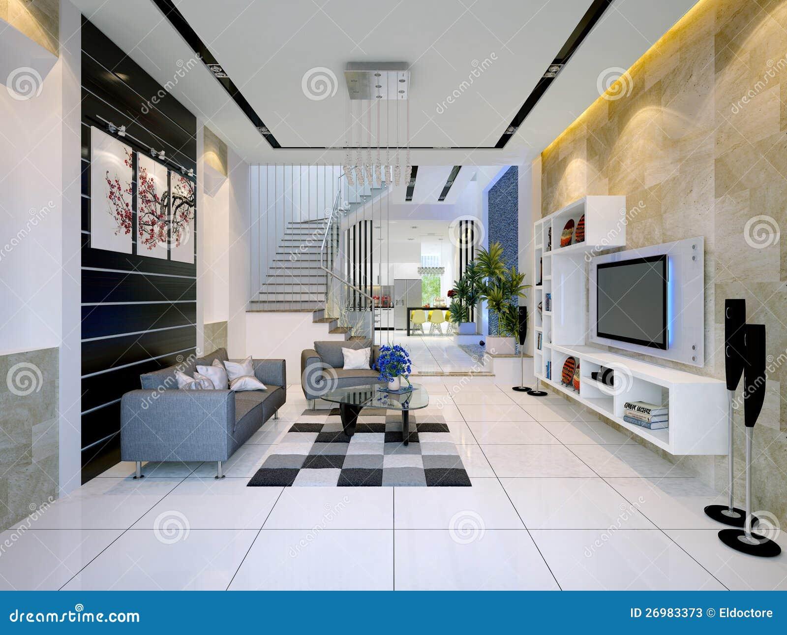 Interiore di una casa moderna con il salone immagine stock for Salone casa moderna