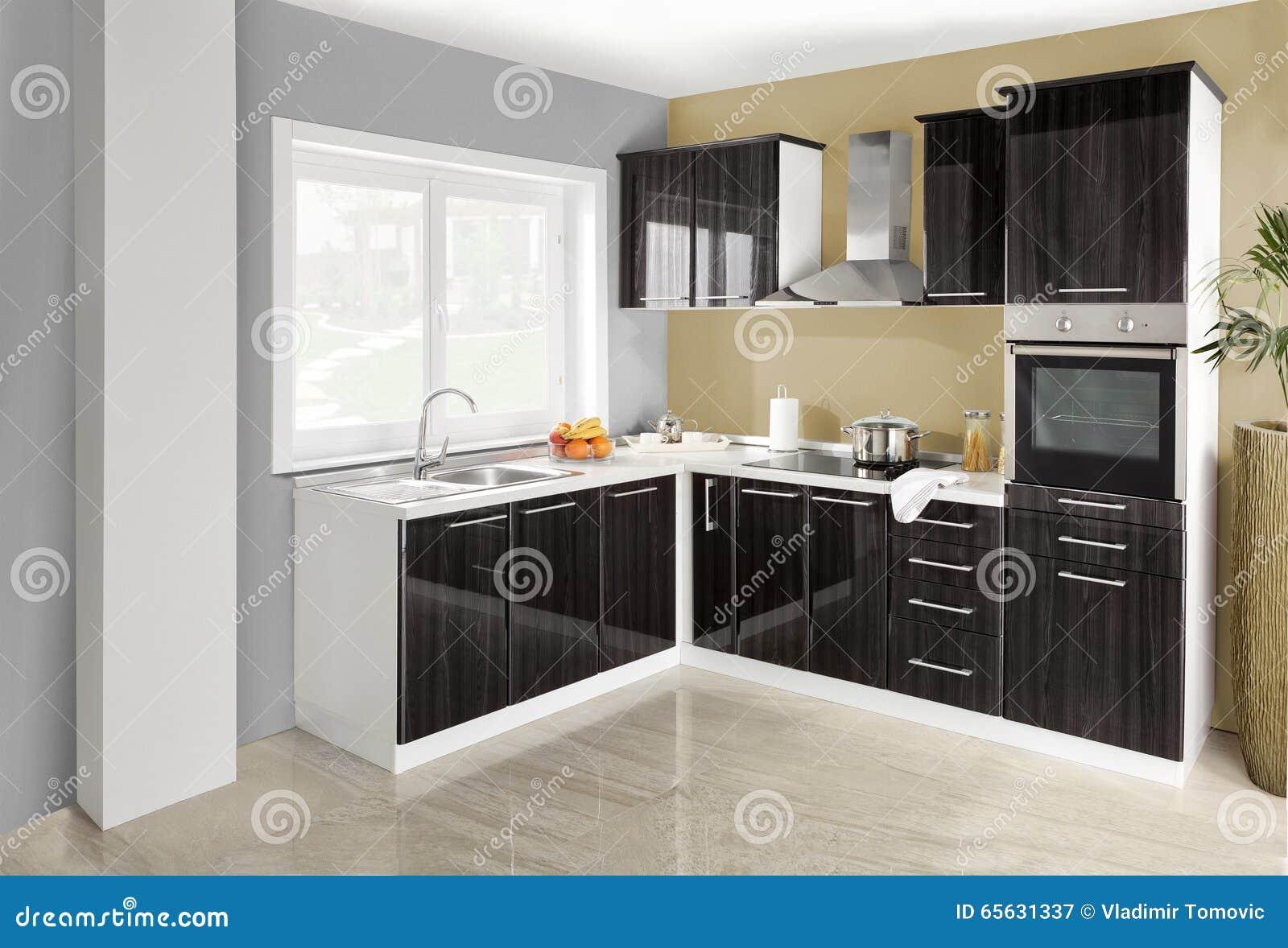 Interiore Di Una Cucina Moderna, Mobilia Di Legno, Semplice E Pulito ...