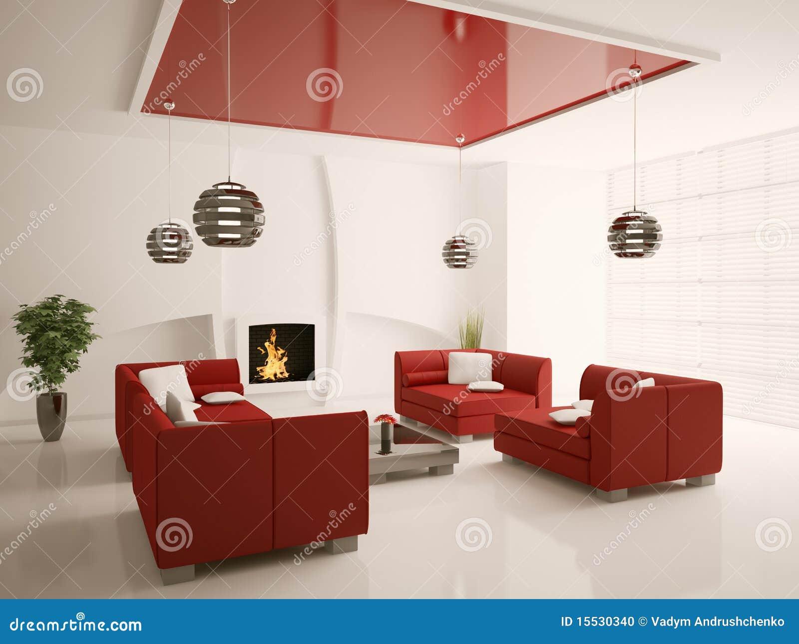 Interiore Moderno Del Salone Con Il Camino 3d Fotografia ...