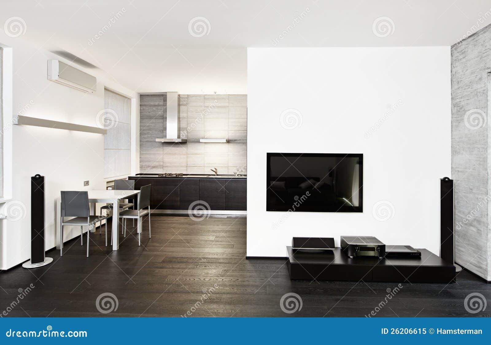 Interiore Moderno Del Salotto E Della Cucina Immagine Stock ...