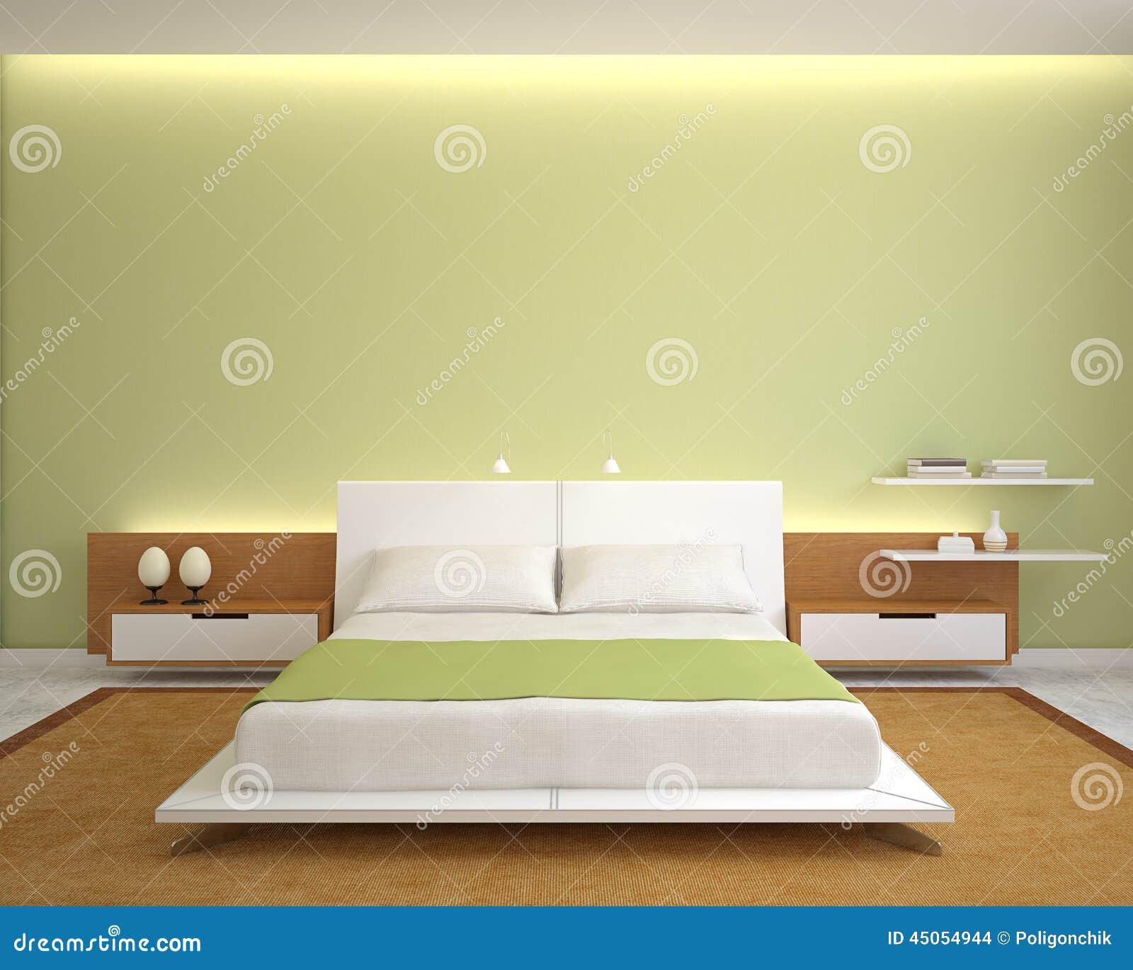 Interiore moderno della camera da letto illustrazione di for Camera letto 3d