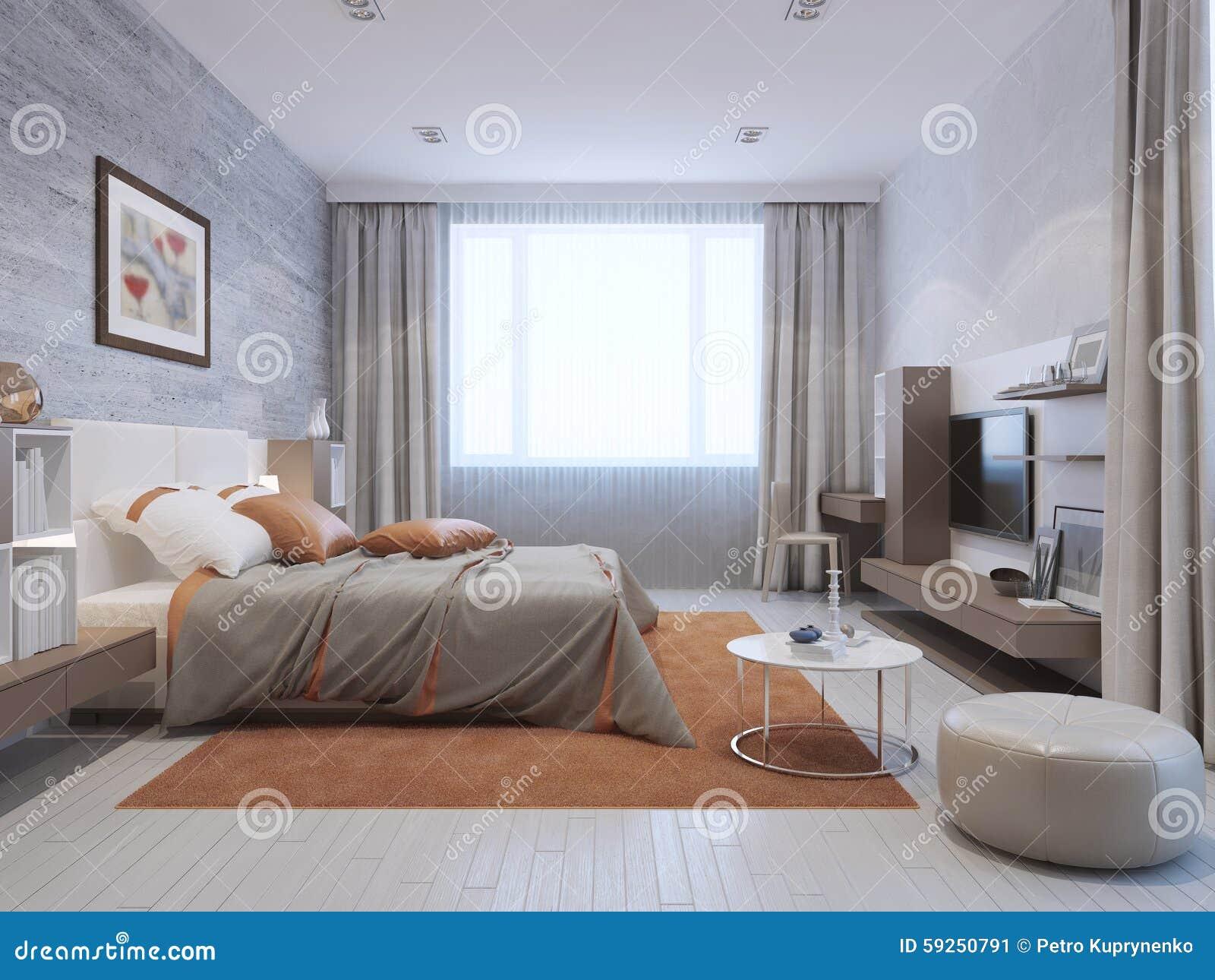 Interiore Moderno Della Camera Da Letto Illustrazione di ...