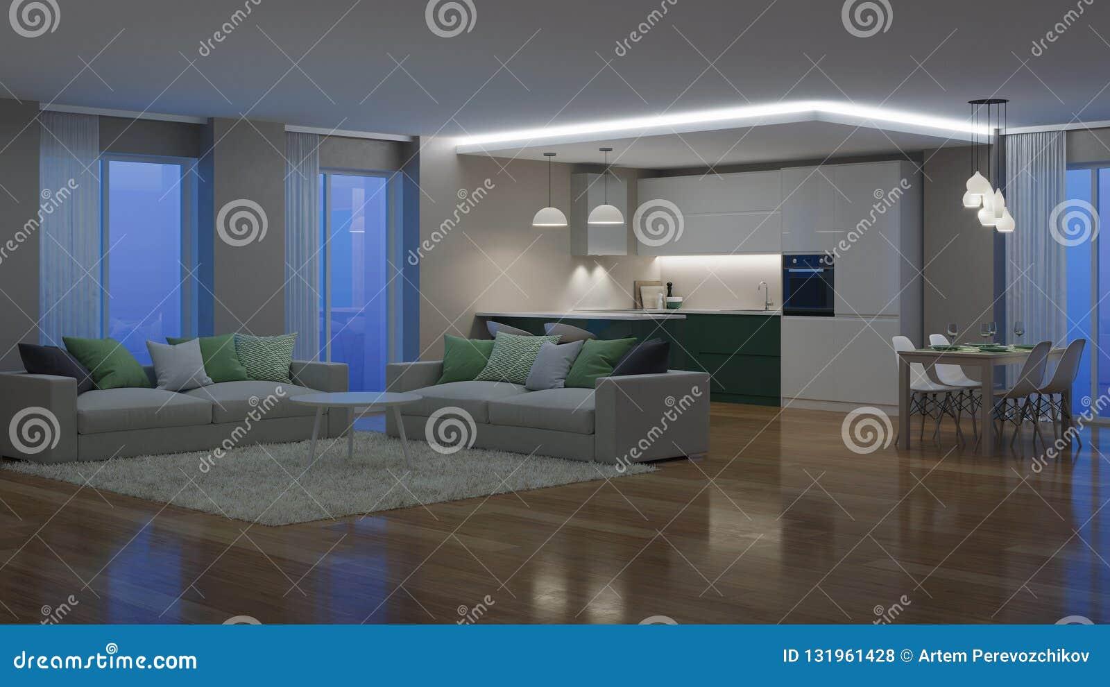 Interiore moderno della casa illuminazione di sera notte