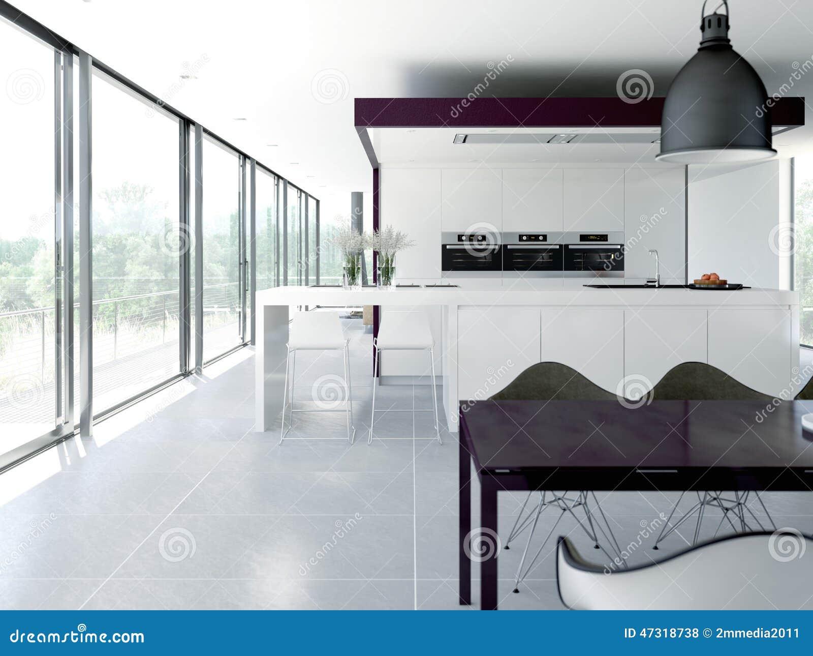 Interiore Moderno Della Cucina Concetto Di Progetto 3d Illustrazione ...