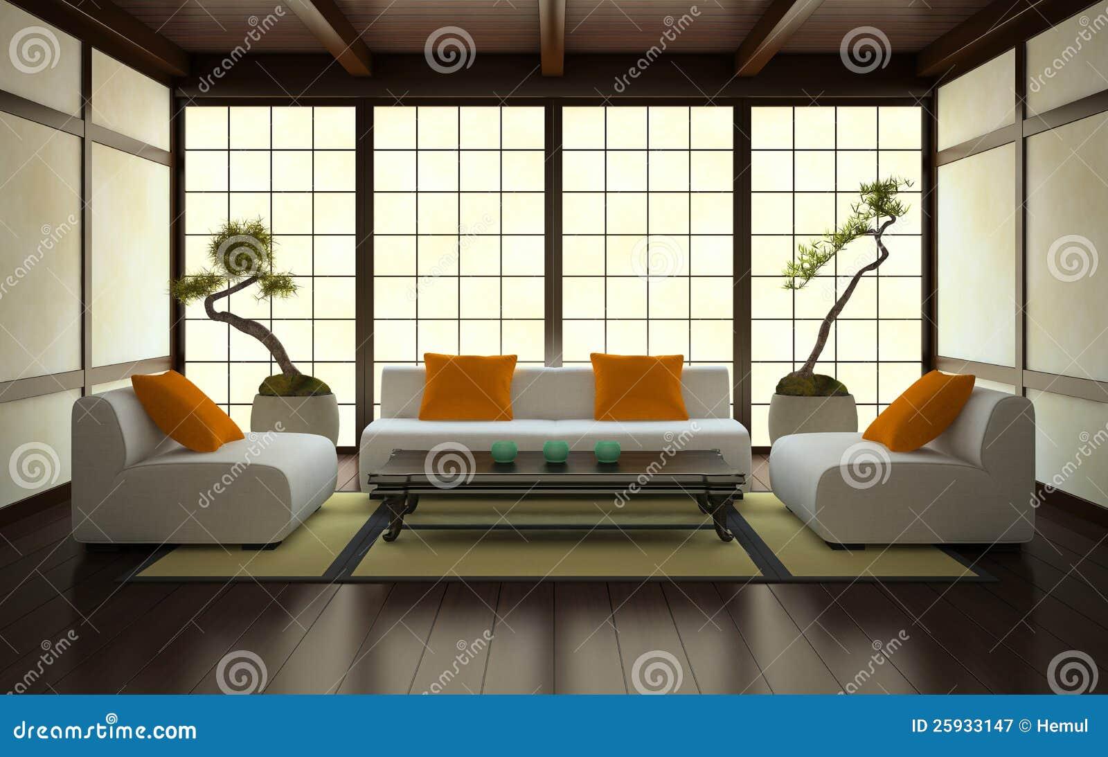 Interiore nello stile giapponese illustrazione di stock for Mobilia arredamento 3d