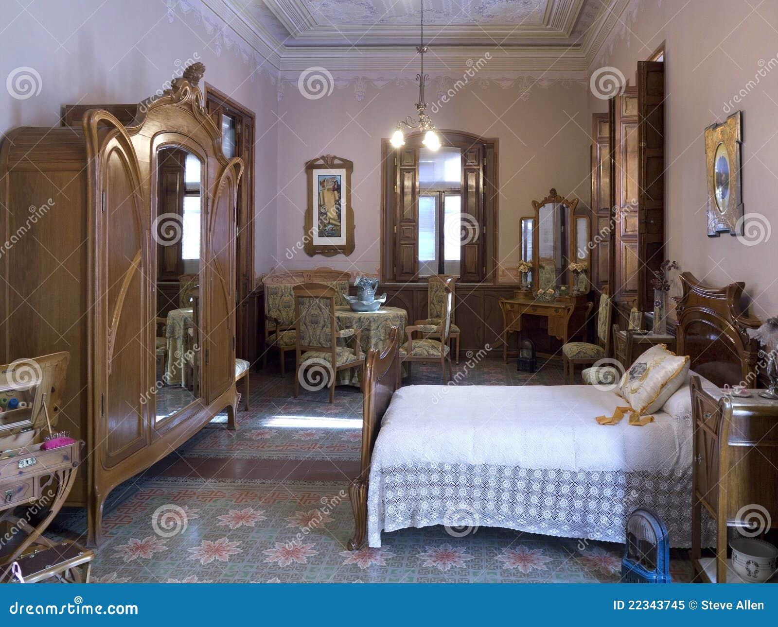 Interiore Spagnolo Della Camera Da Letto Di Nouveau Di Arte Immagine ...