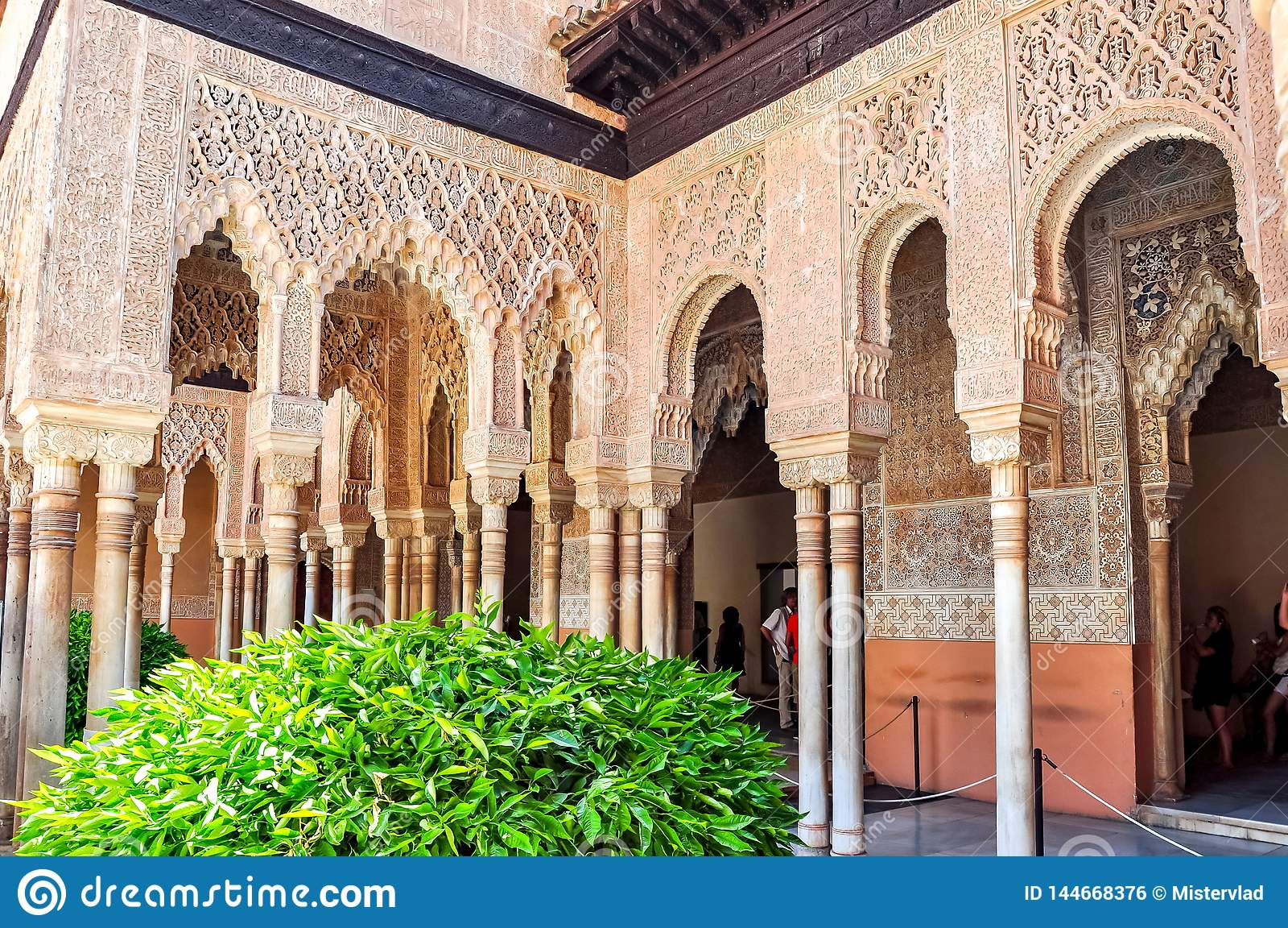 Interiors Of Alhambra Palace In Granada, Spain Stock Photo
