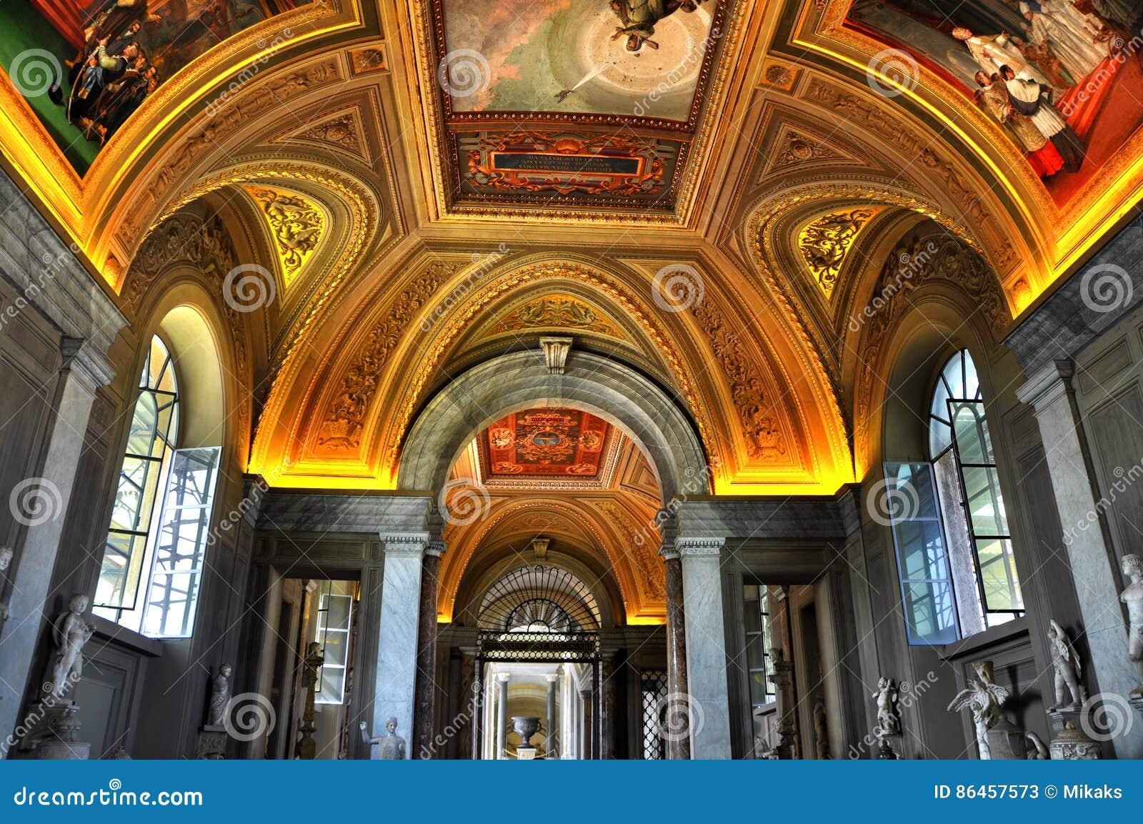 Interiors and architectural details rooms in Vatican museum,Vatican city, Vatican