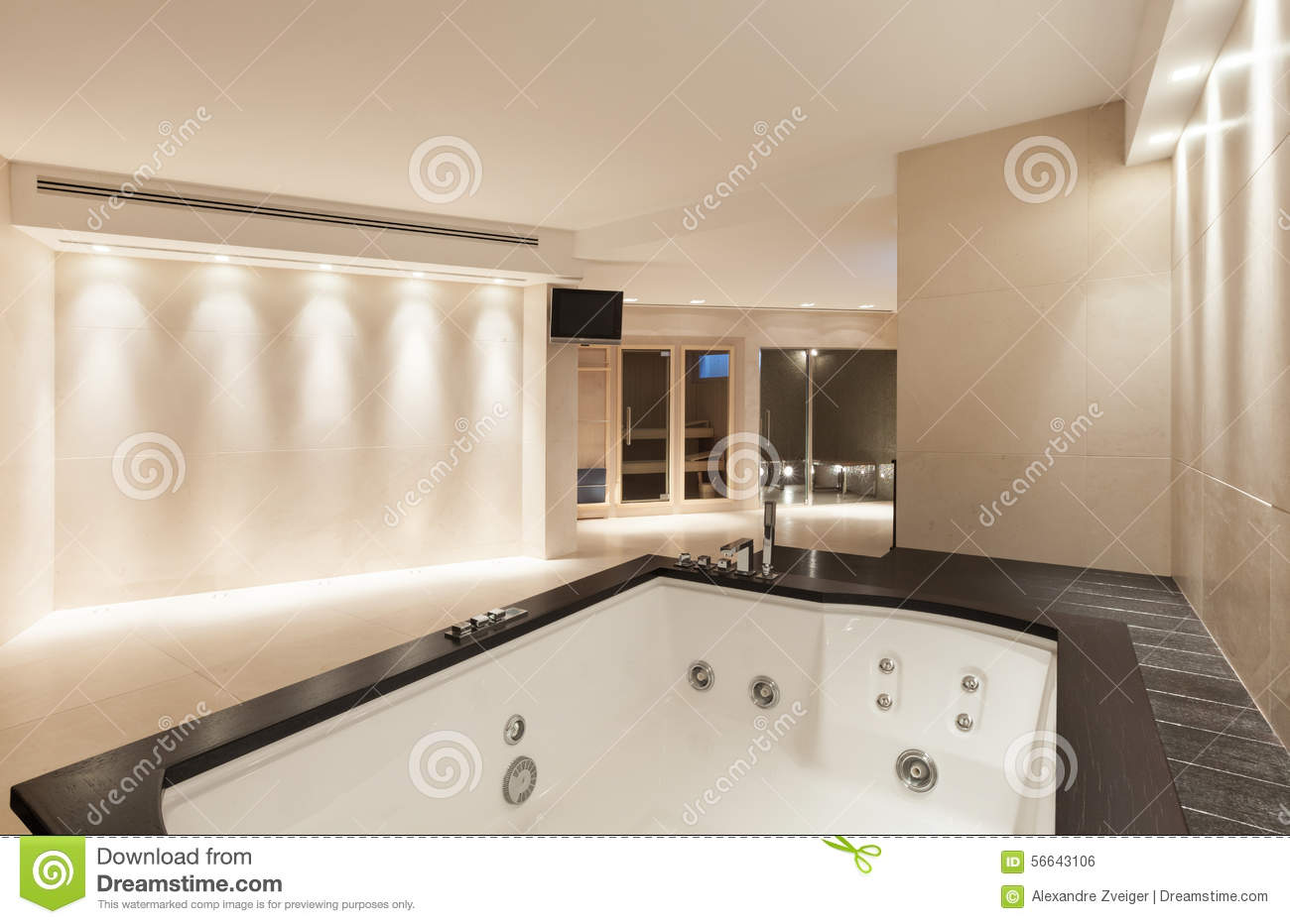 Interiors bathroom with jacuzzi stock photo image of
