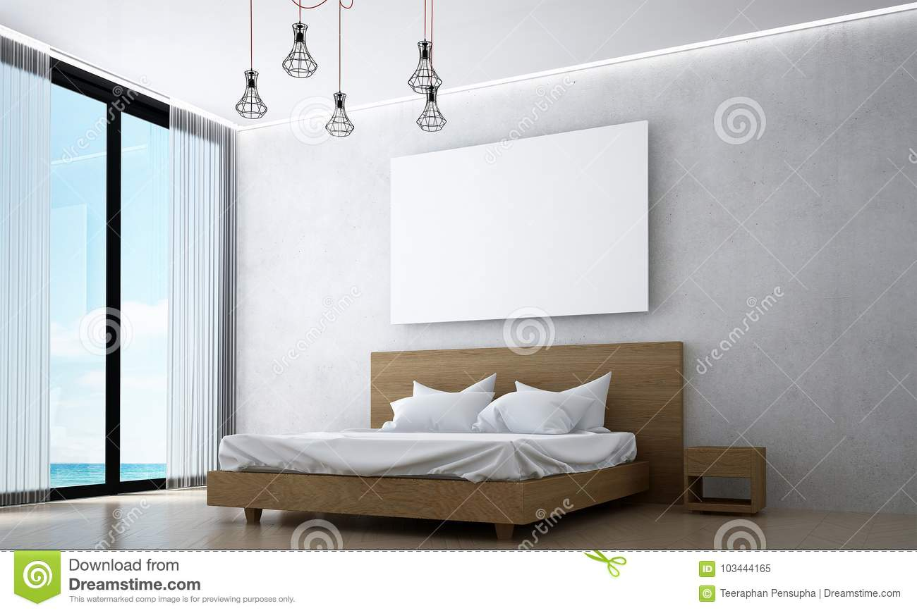 The Interiors Design Idea Of Wood Bedroom And Concrete Wall And