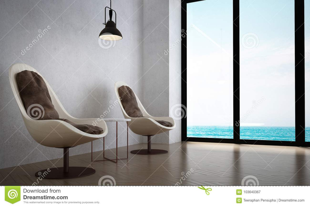 The Interiors Design Of Minimal Lounge Chairs And Living