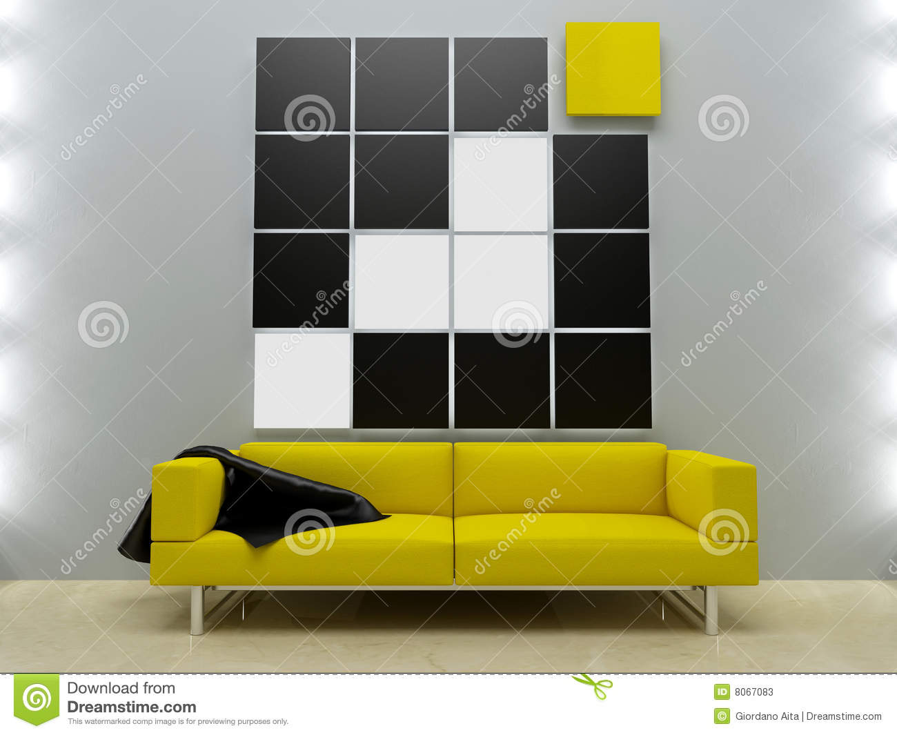 Interiors Design Yellow Couch In Modern Style Stock