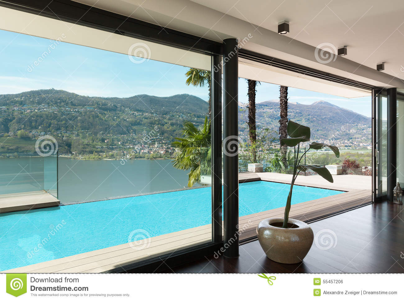 Interiors, house with pool