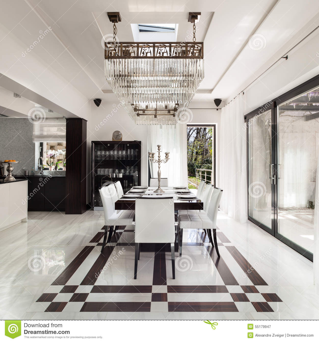 Interiors luxury dining room stock photo image 55179947 for Beautiful modern dining rooms
