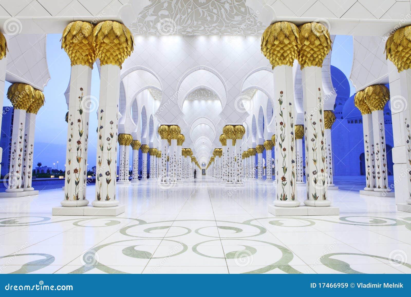 Exterior: Interiors Of Sheikh Zayed Mosque, Abu Dhabi Stock Image