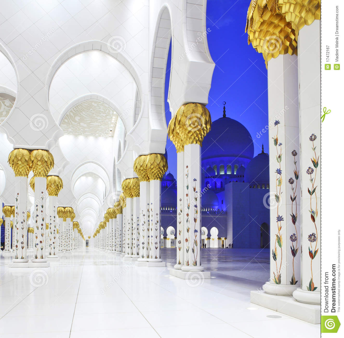 Exterior: Interiors Of Sheikh Zayed Mosque, Abu Dhabi Royalty Free