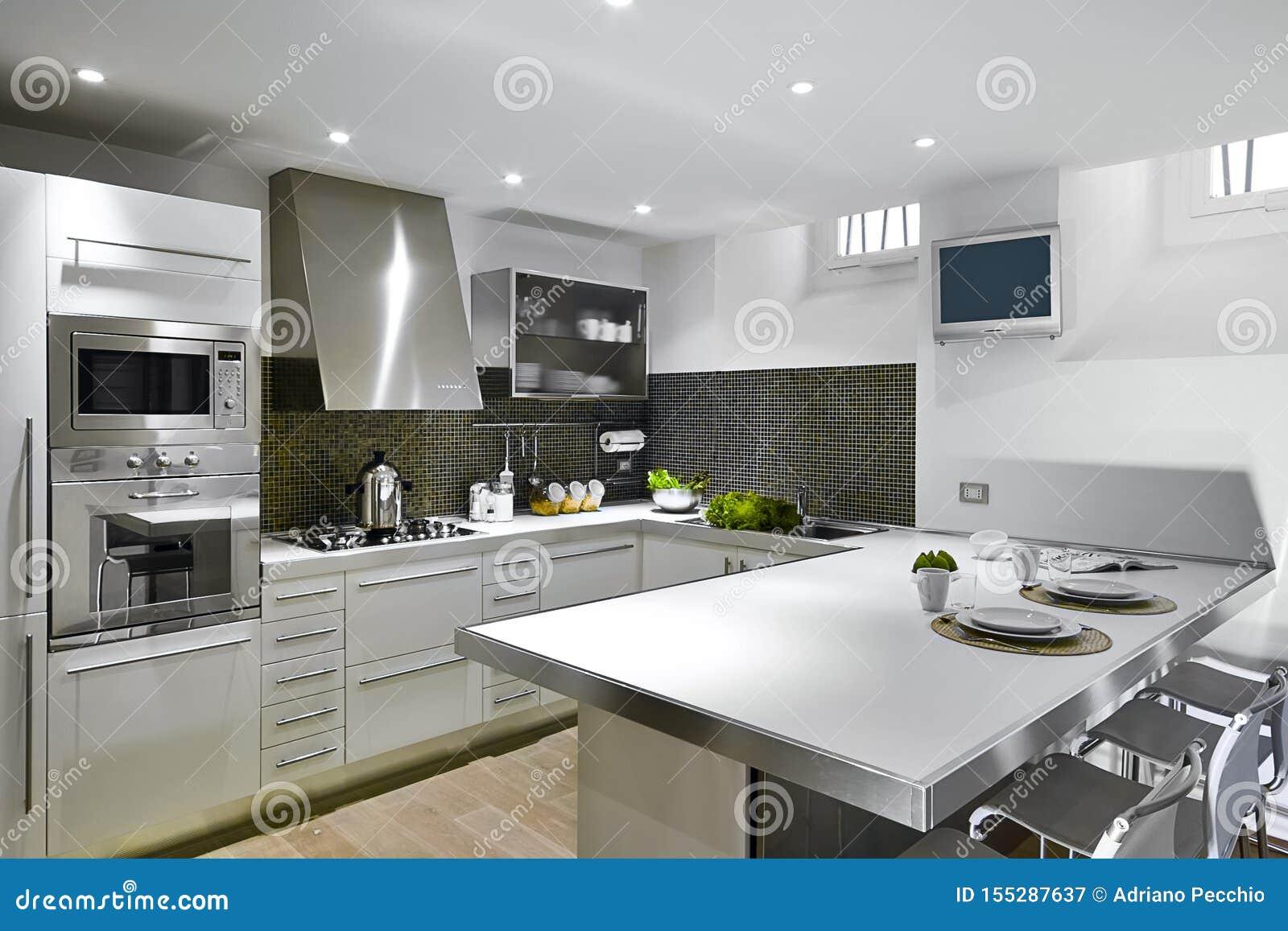 Interiors Shots Of A Modern Kitchen Stock Image Image Of Horizontal Built 155287637