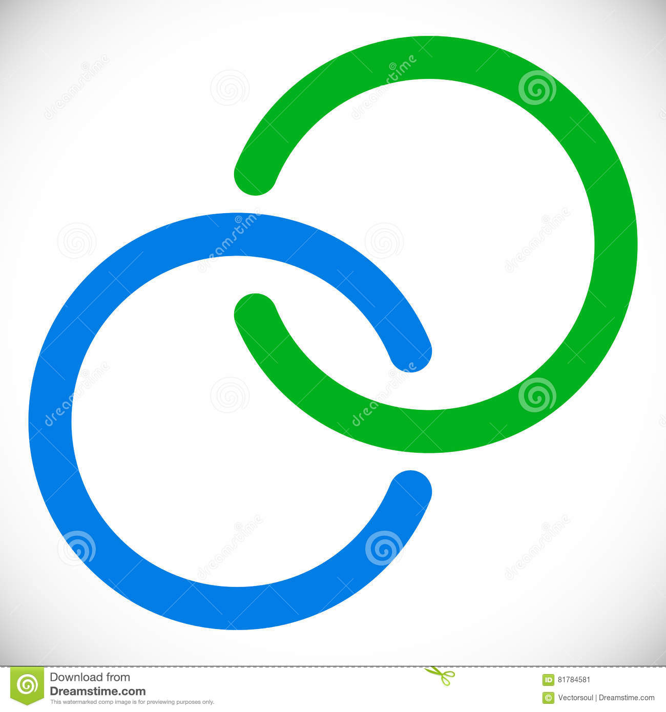 Interlocking circles rings. Abstract logo element in blue and gr