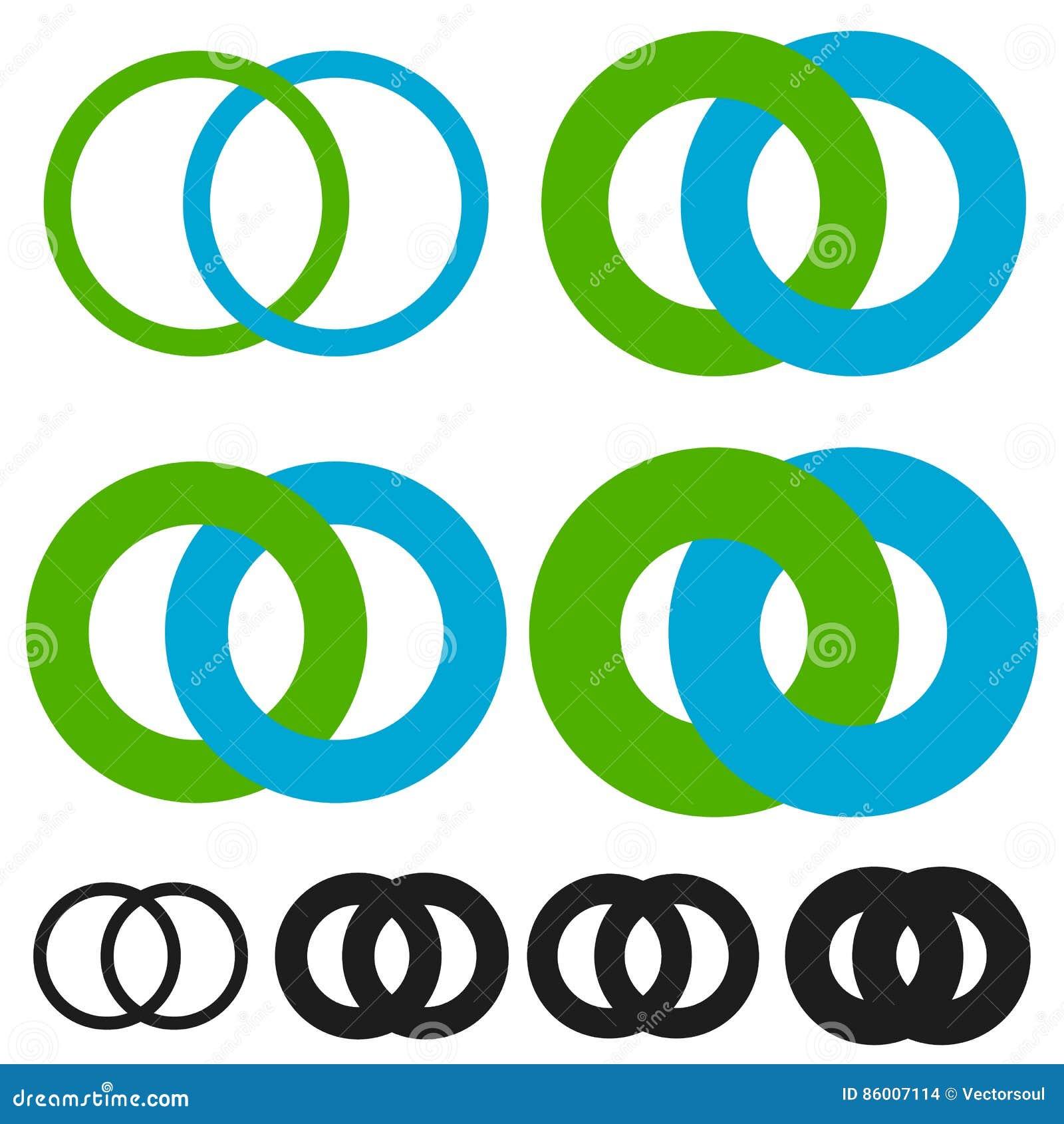 Interlocking circles, rings. Infinite symbol or logo with differ