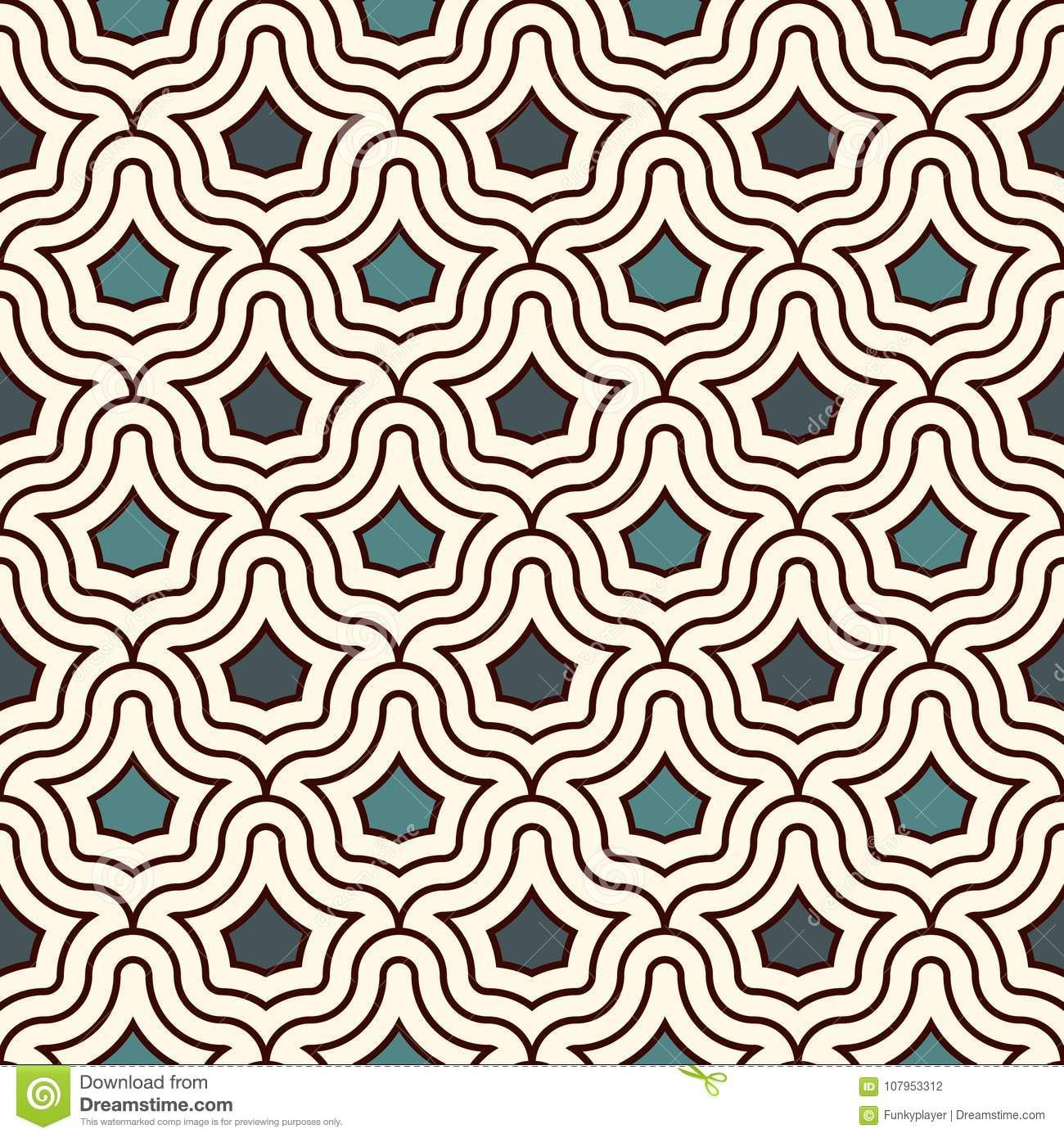 Interlocking figures tessellation background. Repeated geometric shapes. Ethnic mosaic ornament. Oriental wallpaper