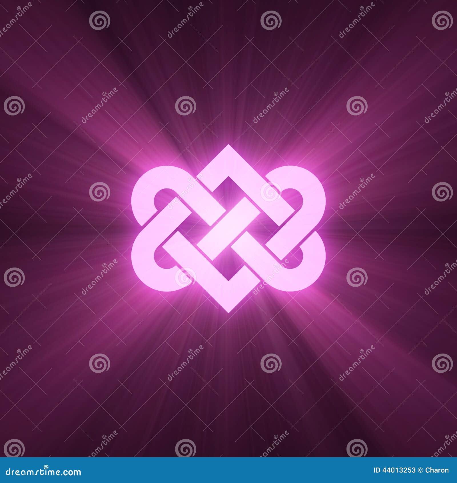 Interlocking Heart Knot Shine Light Flare Stock Illustration