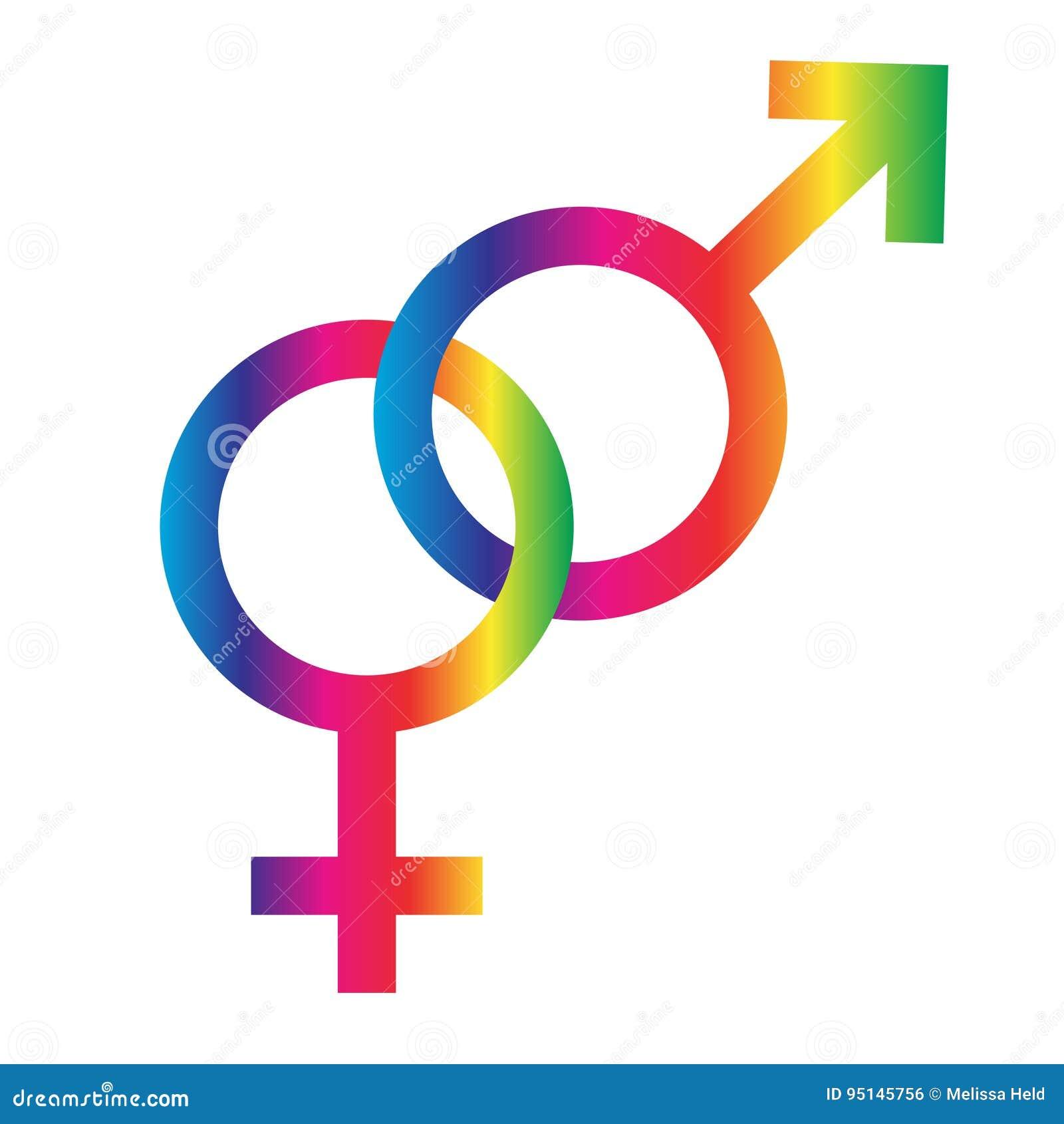 Interlocking Rainbow Male Female Symbols Stock Illustration
