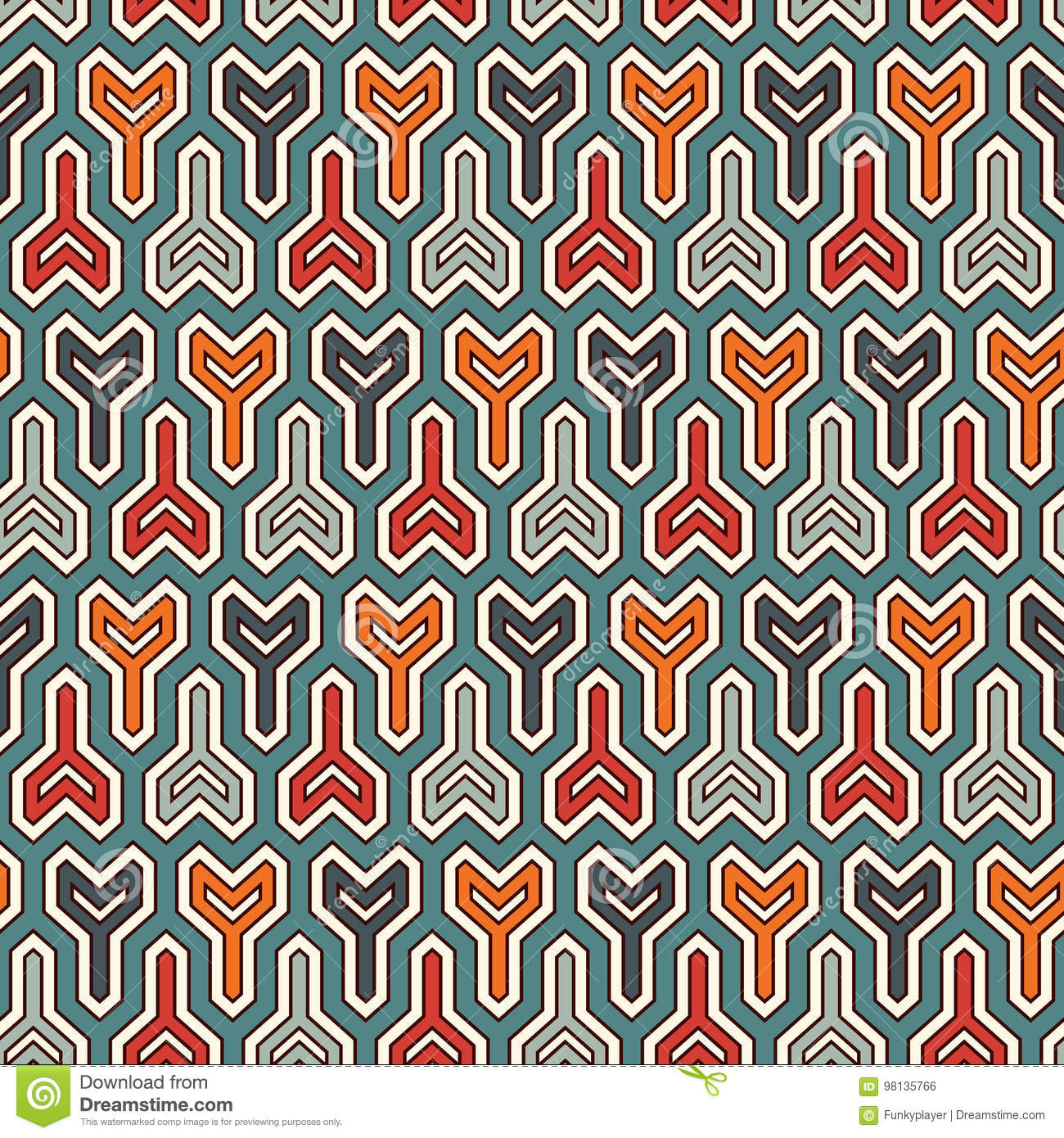 Interlocking three pronged blocks background. Winder keys motif. Ethnic seamless surface pattern with geometric figures.