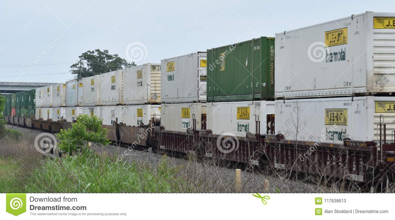 Intermodal Freight Containers On Train Editorial Stock Photo