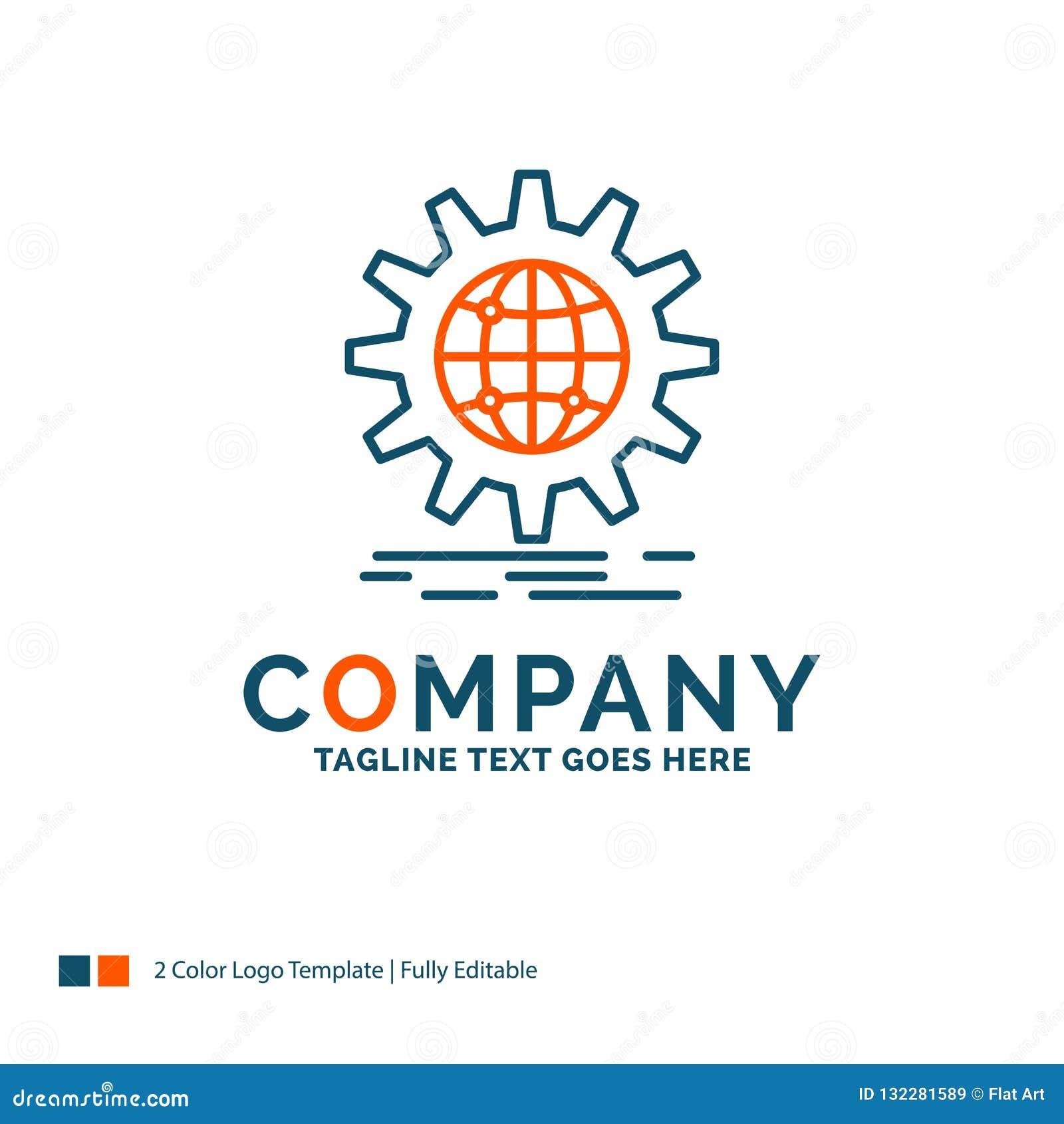 Internacional, negocio, globo, por todo el mundo, engranaje Logo Design Bl