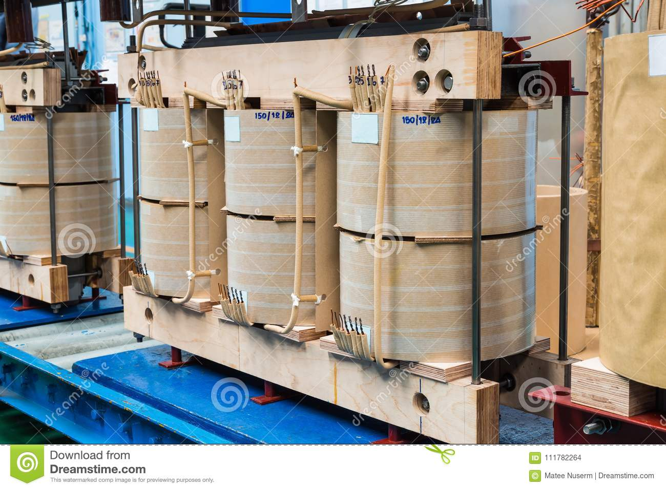 Internal Active Parts Core And Coils Of Transformer Stock