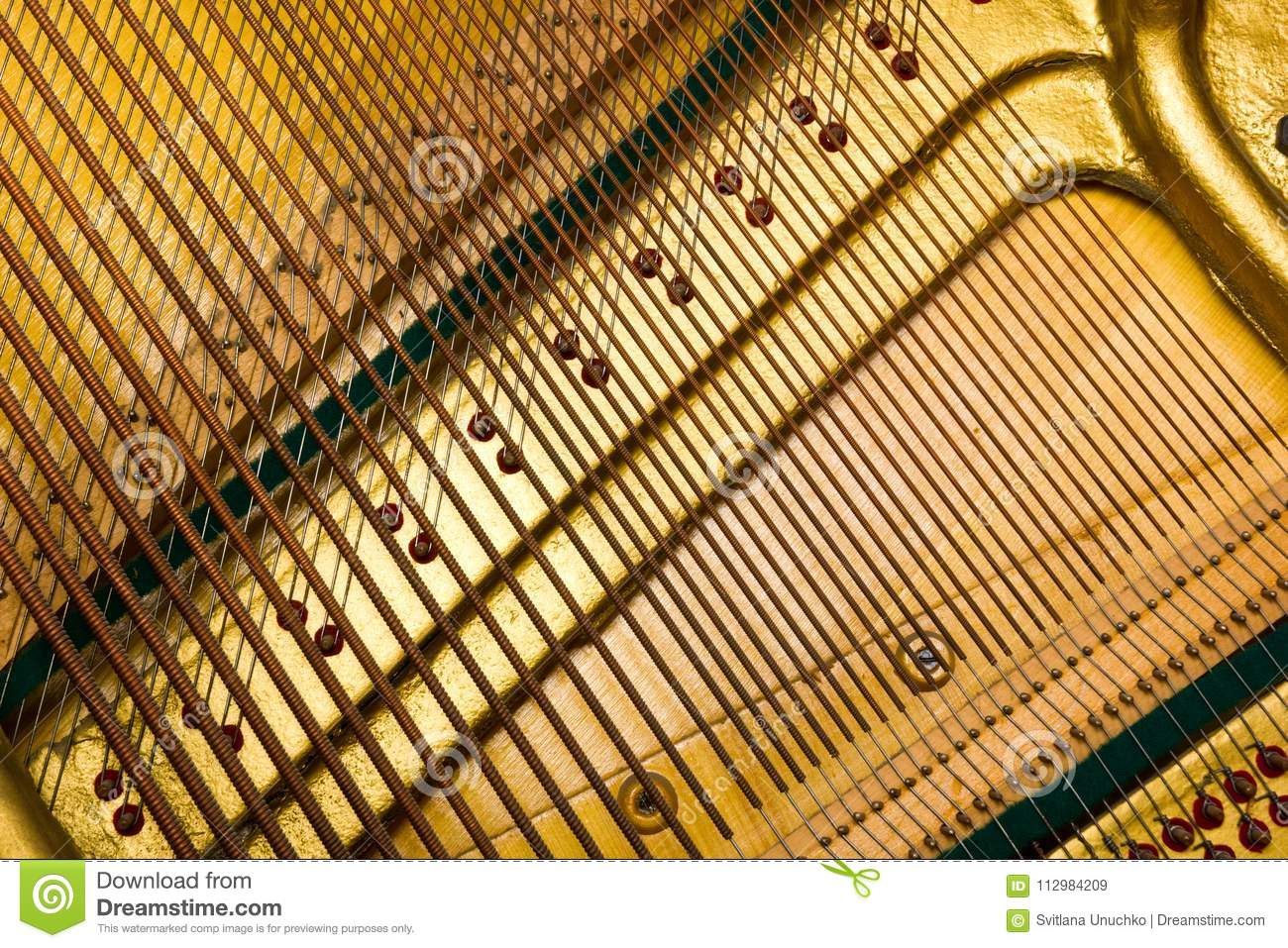 Internal arrangement of pianos, Theme of musical instruments. Background.