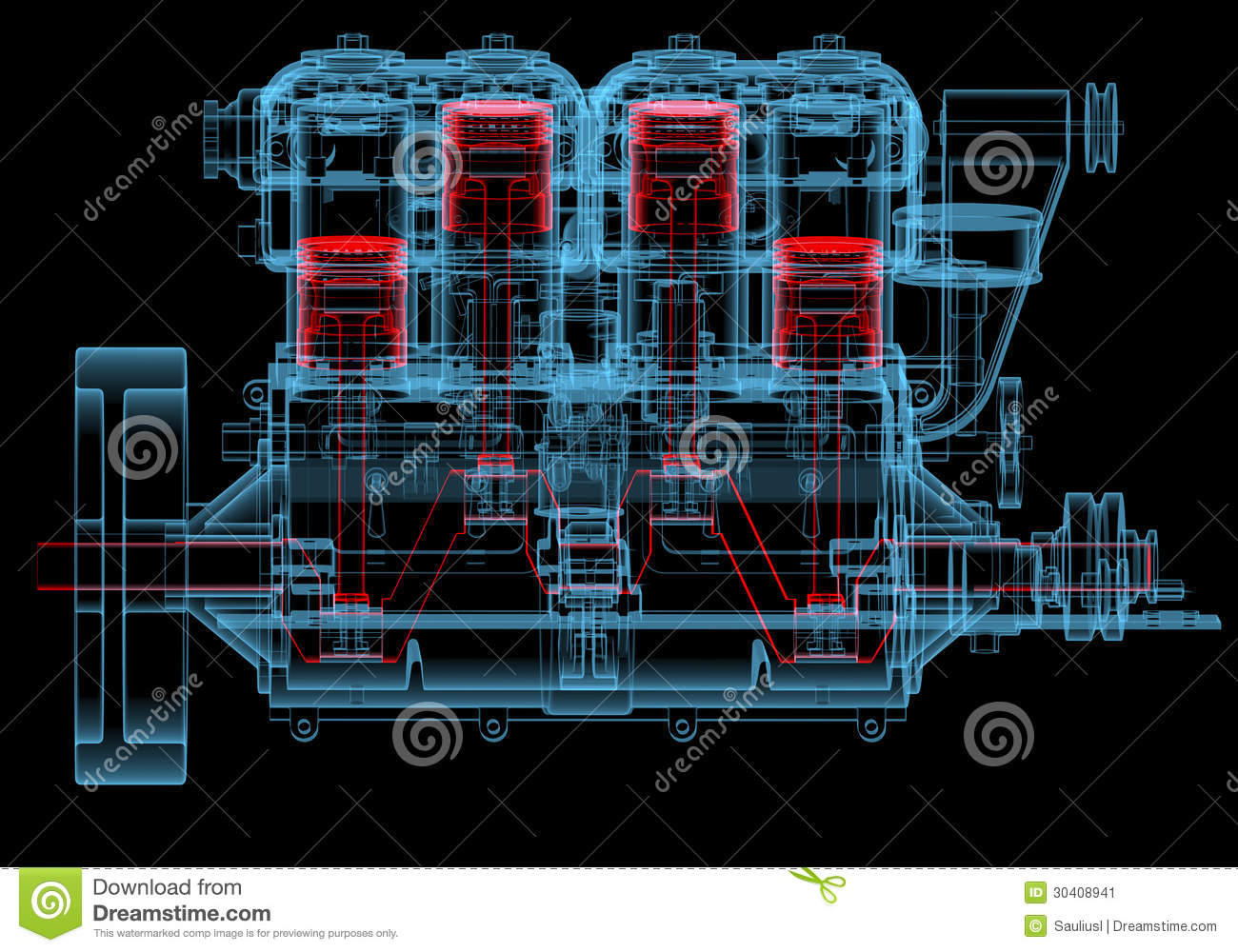 Internal Combustion Engine 3d Xray Red And Blue Transparent Stock Block Diagram Isolated On Black Background