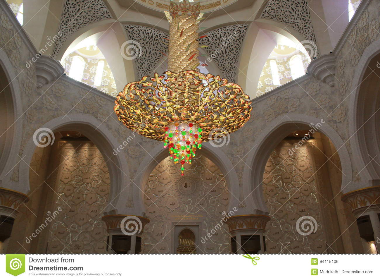 INTERNAL LIGHTING EQUIPMENT Inside The Largest Mosque Of UAE, SHEIK ZAYED  GRAND MOSQUE Located In