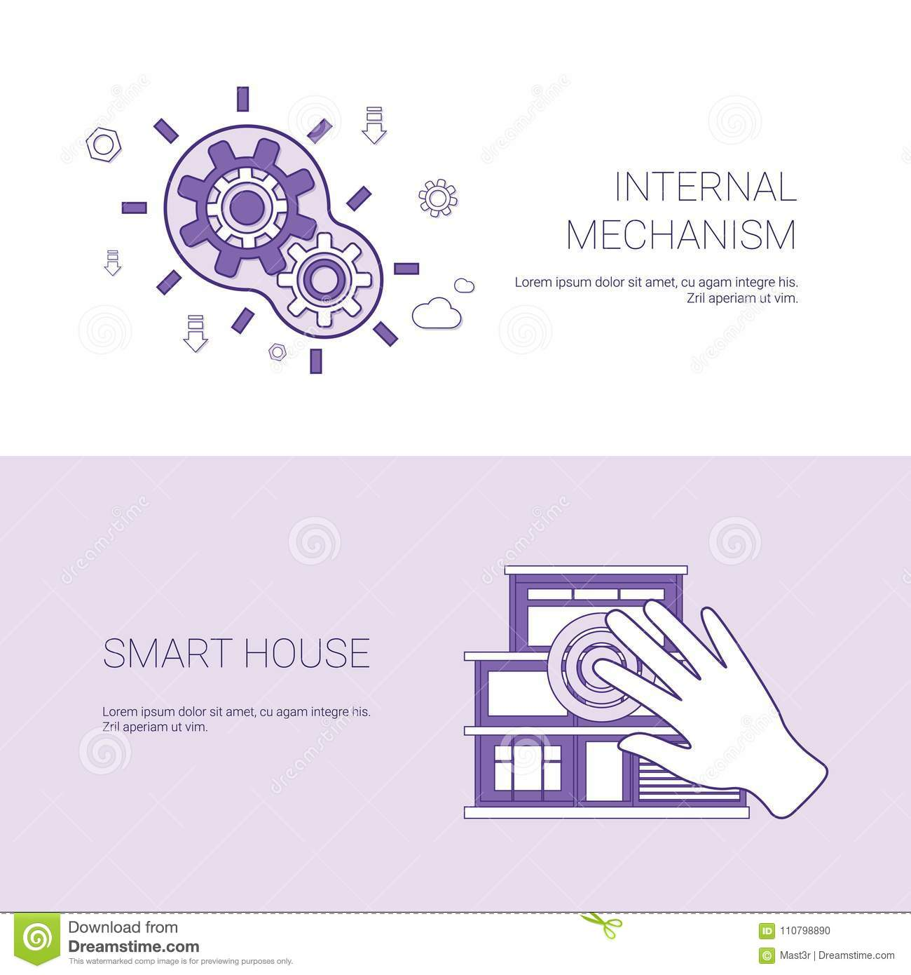 Internal Mechanism And Smart House Concept Template Web Banner With Engine Diagram Download Copy Space Stock Vector