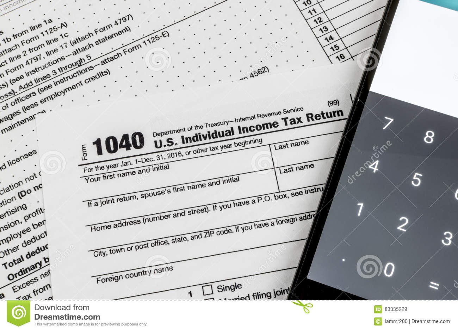 Internal Revenue Service IRS Form 1040 - US Individual Income ...
