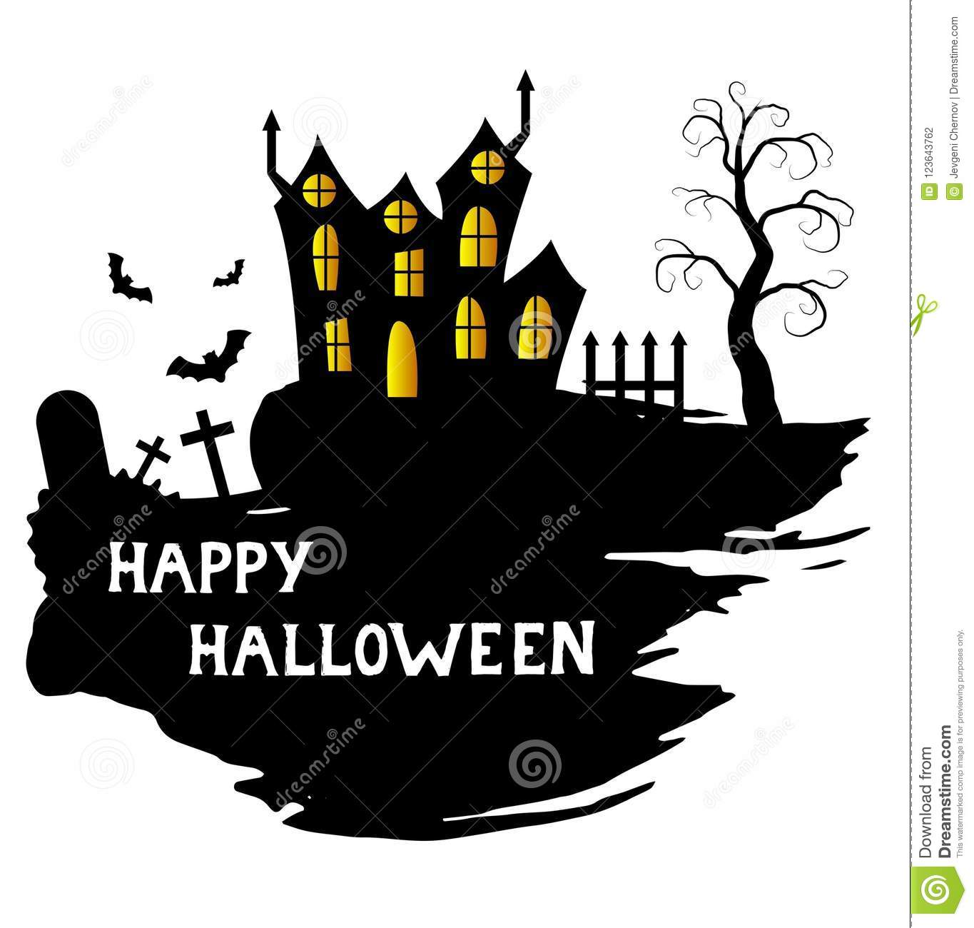 happy halloween poster with brushes castle and scary graveyard stock