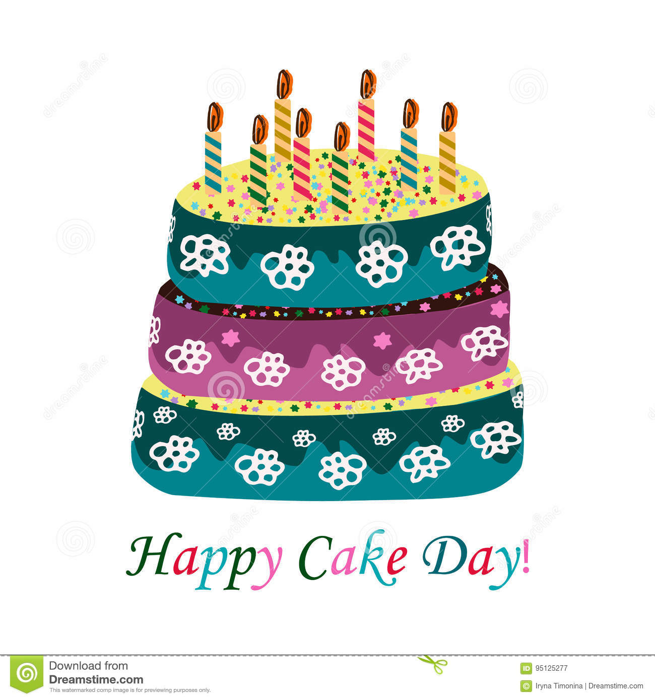 International Cake Day July 20 Cake With Candles Vector