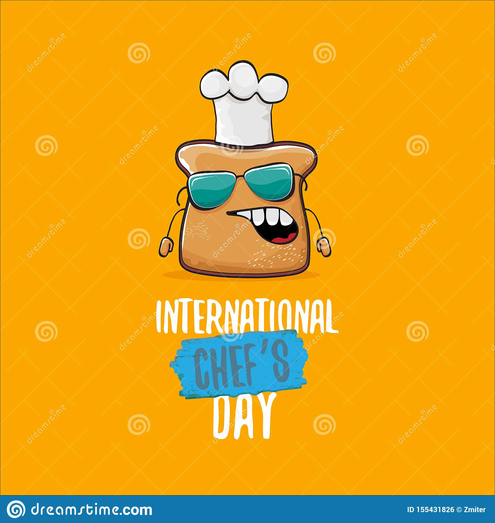 International chef day greeting card or banner with vector funny cartoon chef bread with cheaf hat isolated on orange