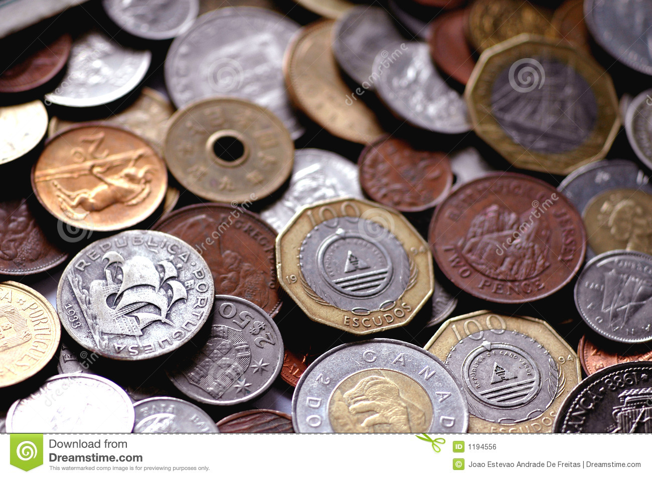 International coins stock photo  Image of cash, euros - 1194556