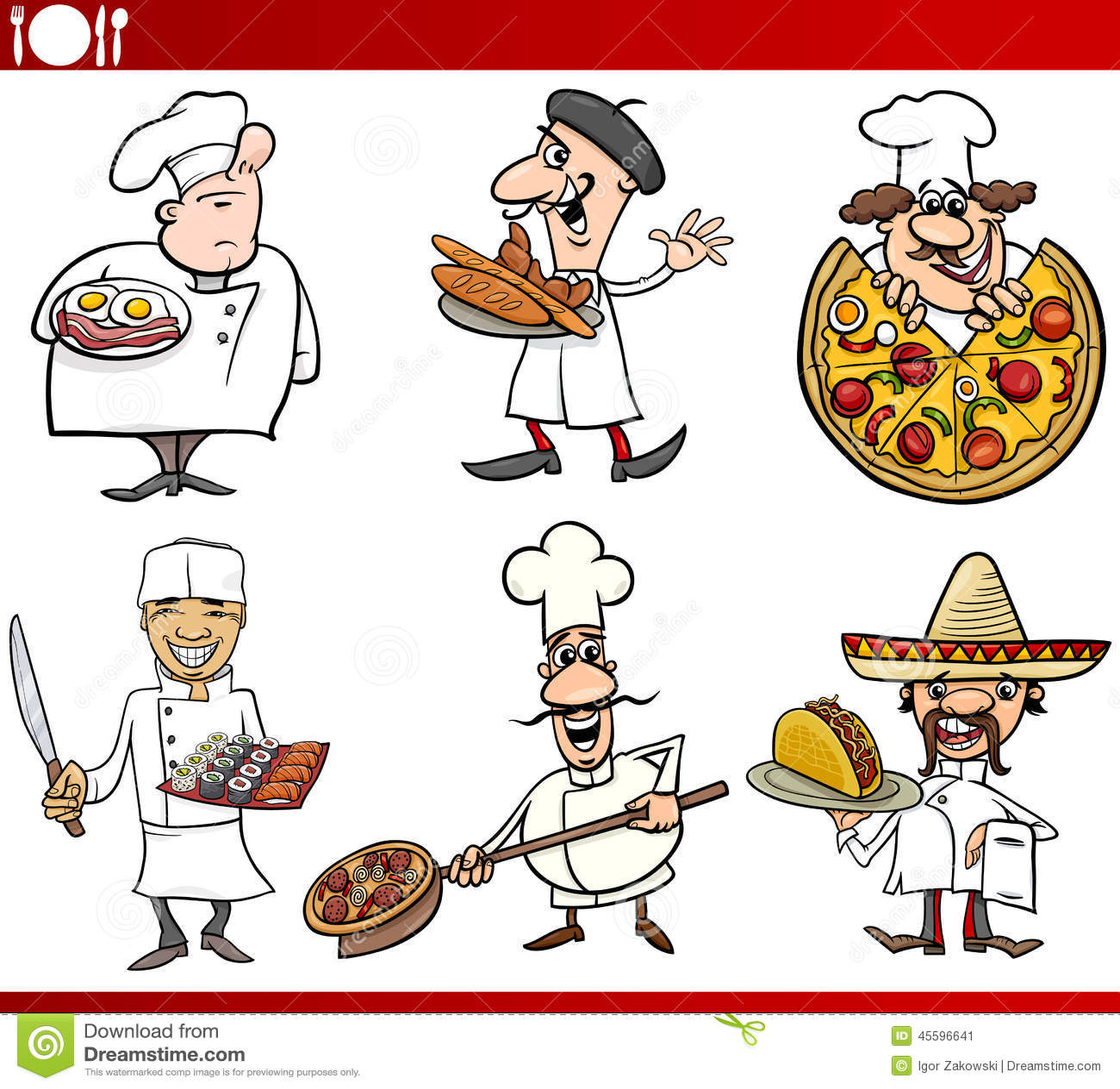 International Cuisine Chefs Cartoons Stock Vector ...